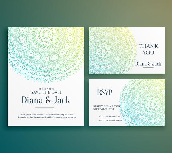 wedding invitation greeting card design with beautiful mandala d