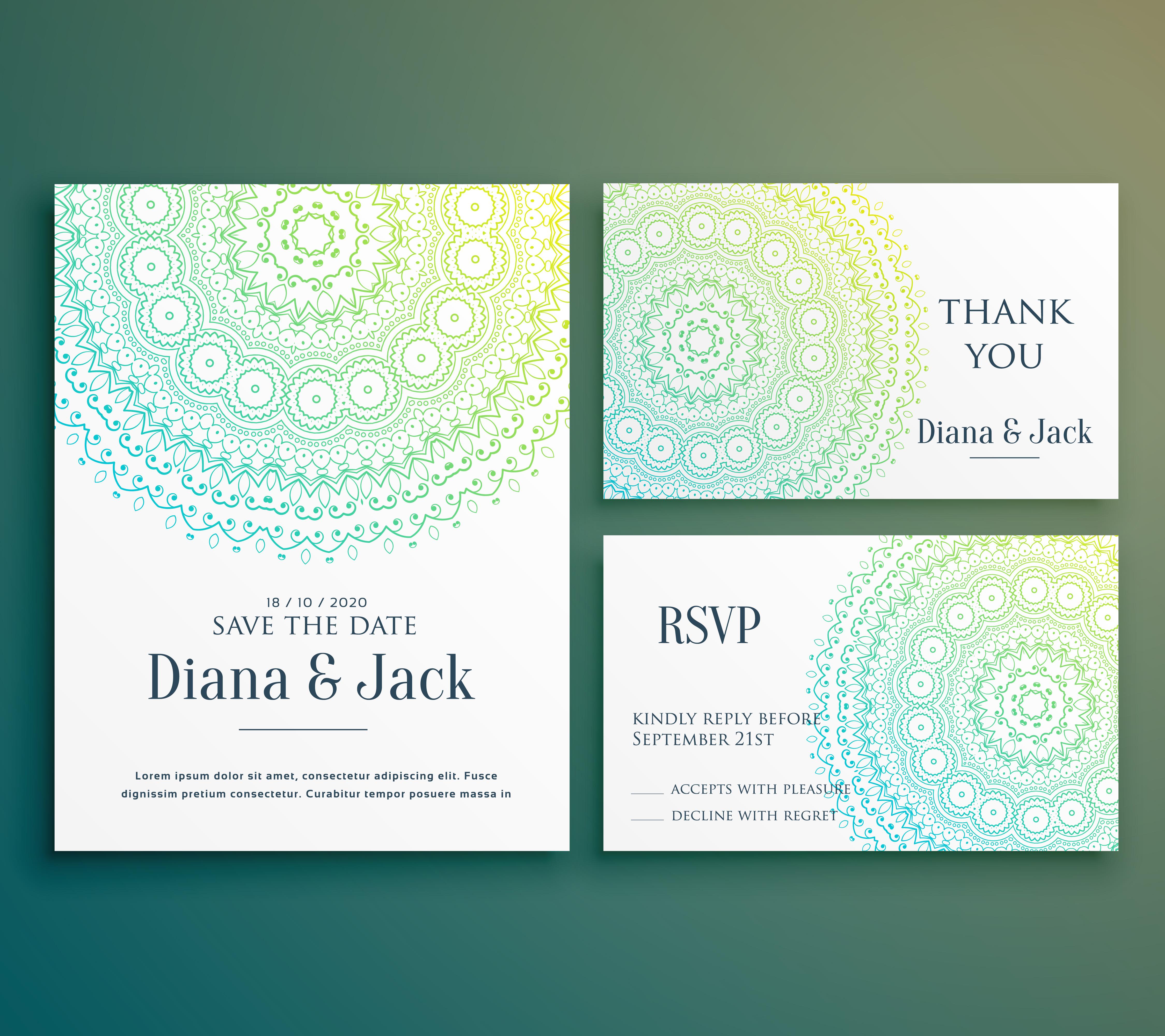 wedding invitation greeting card design with beautiful