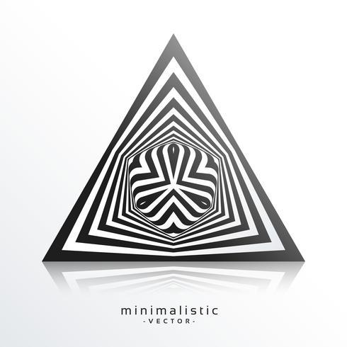 forma abstrata triângulo feita com fundo de linhas pretas