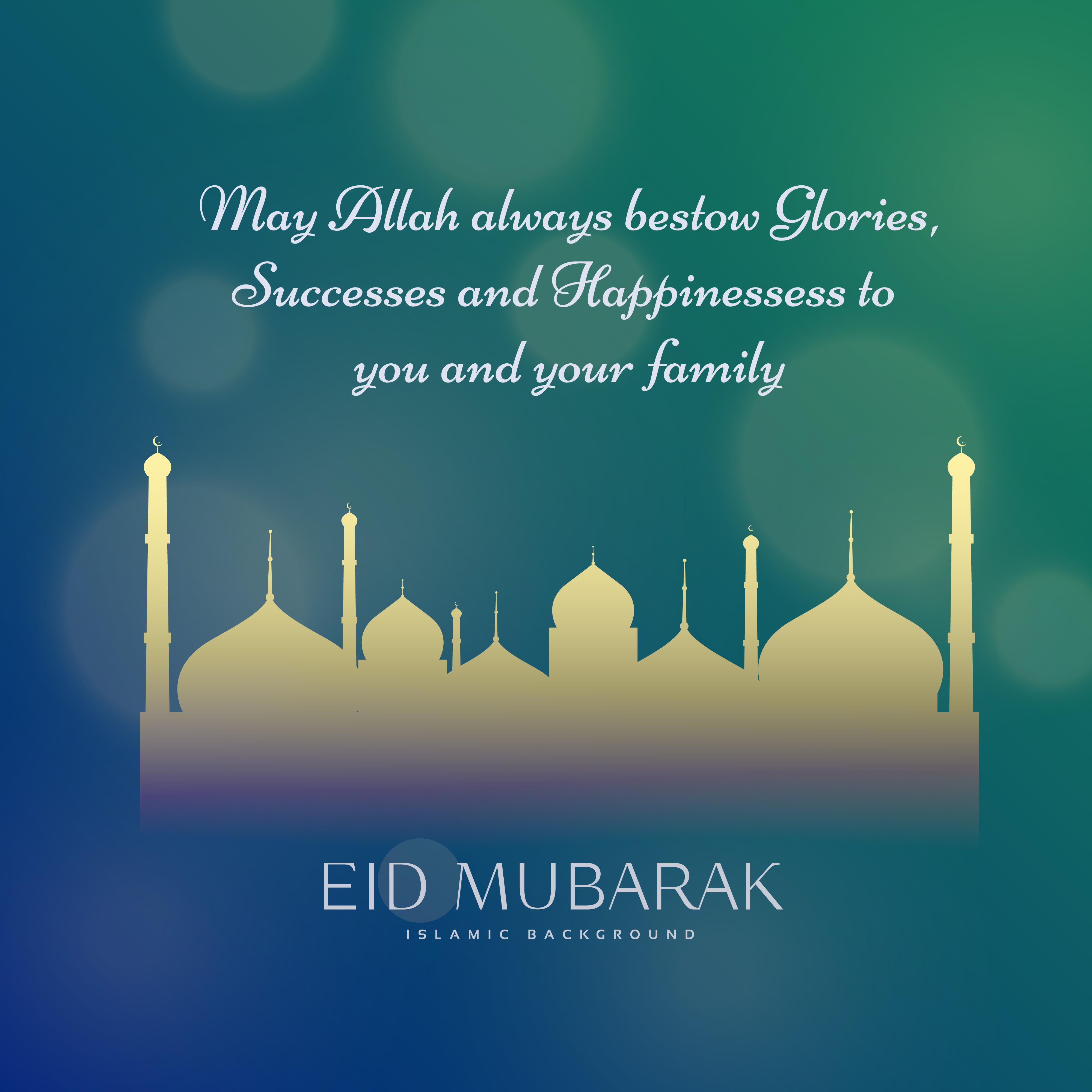 Muslim Eid Festival Wishes Greeting Card Design Download Free