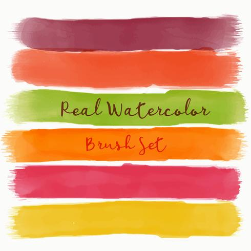 set of real watercolor brush with warm colors