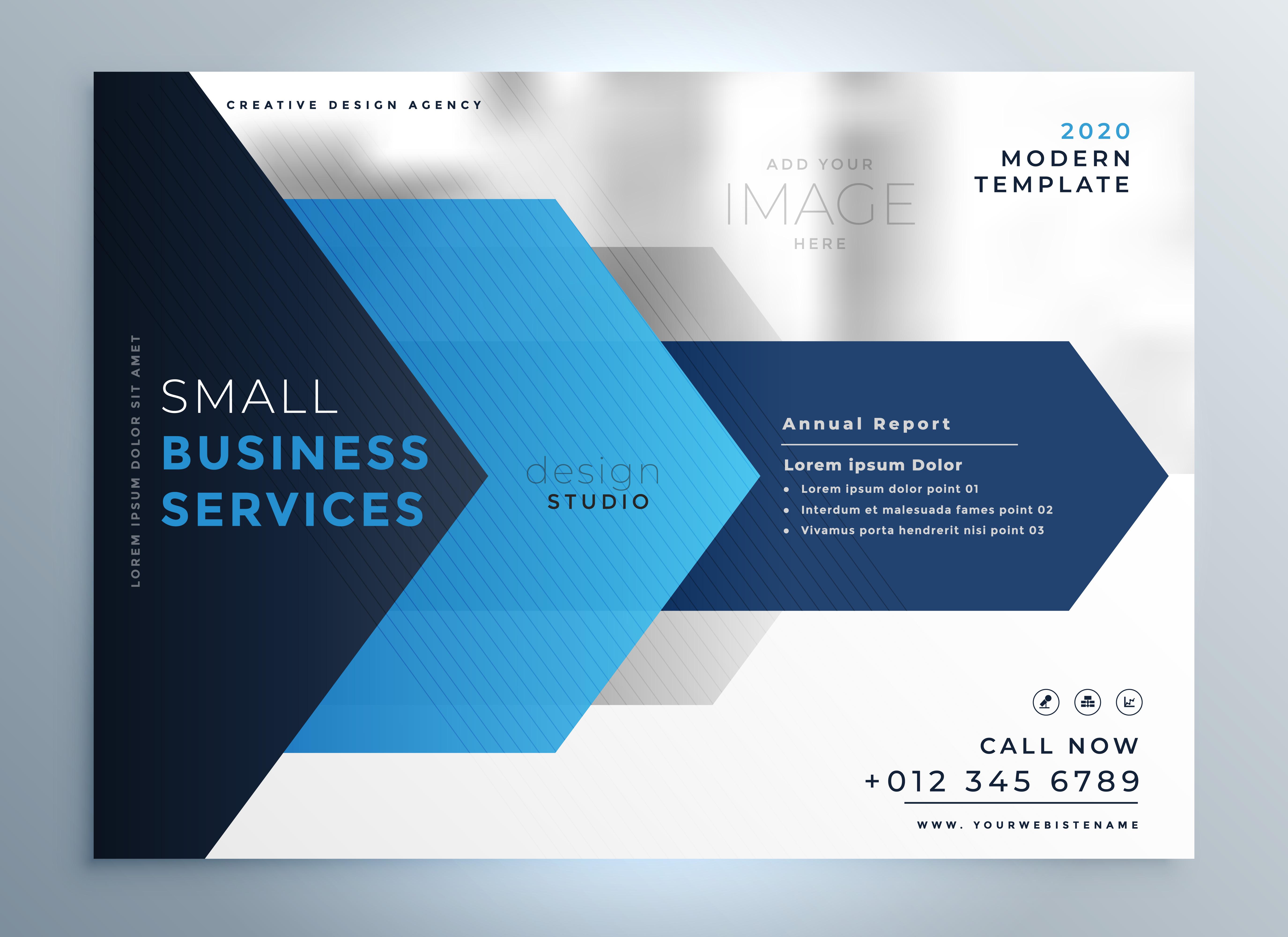 business presentation template design in blue geometric