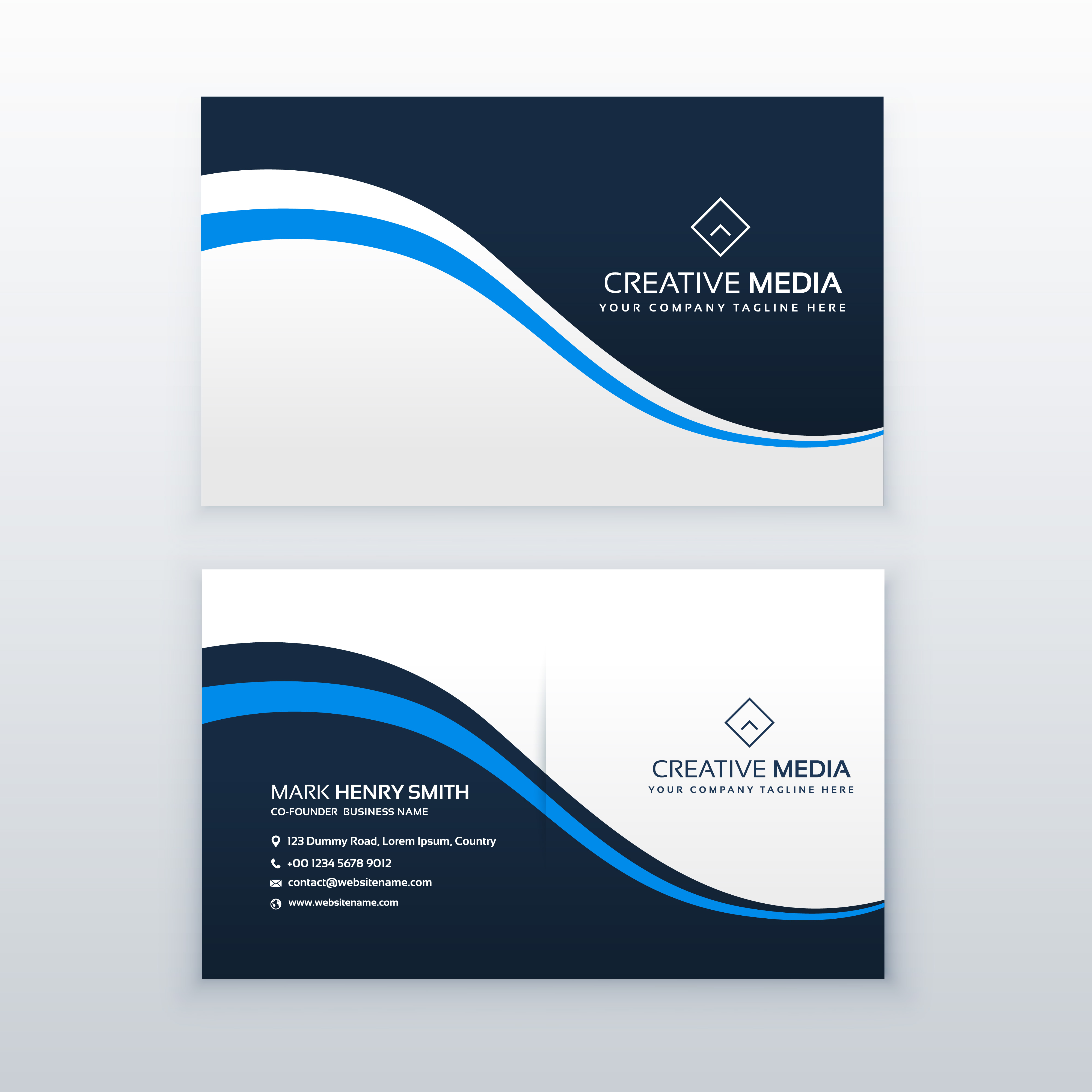 professional business card design with blue wave Download Free Vector Art Stock Graphics & Images