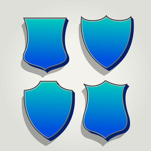 3d blue set of badges and labels