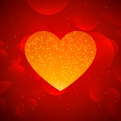 golden heart on red bokeh background
