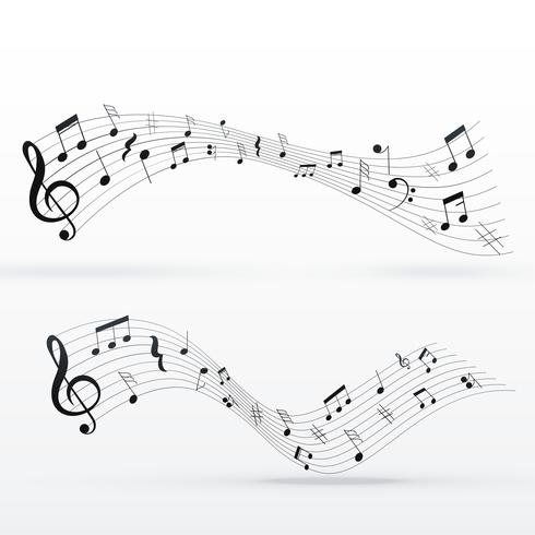 musical notes wave background design