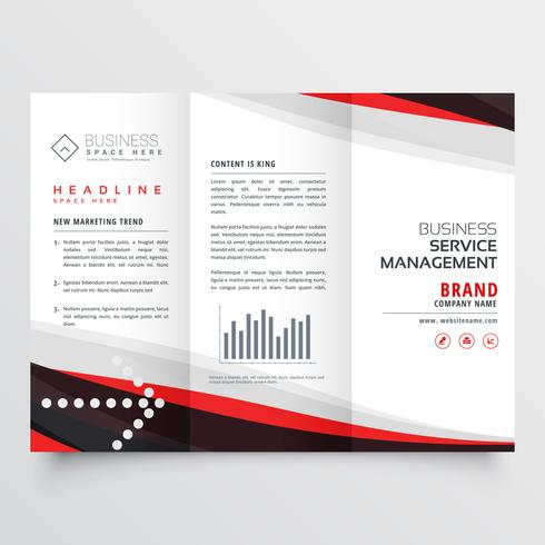 red and black trifold brochure design for your business