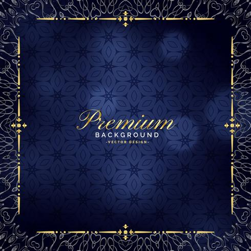 premium blue background with golden ornamental decoration