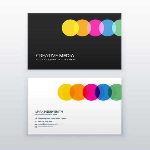 creative colorful circles clean business card design