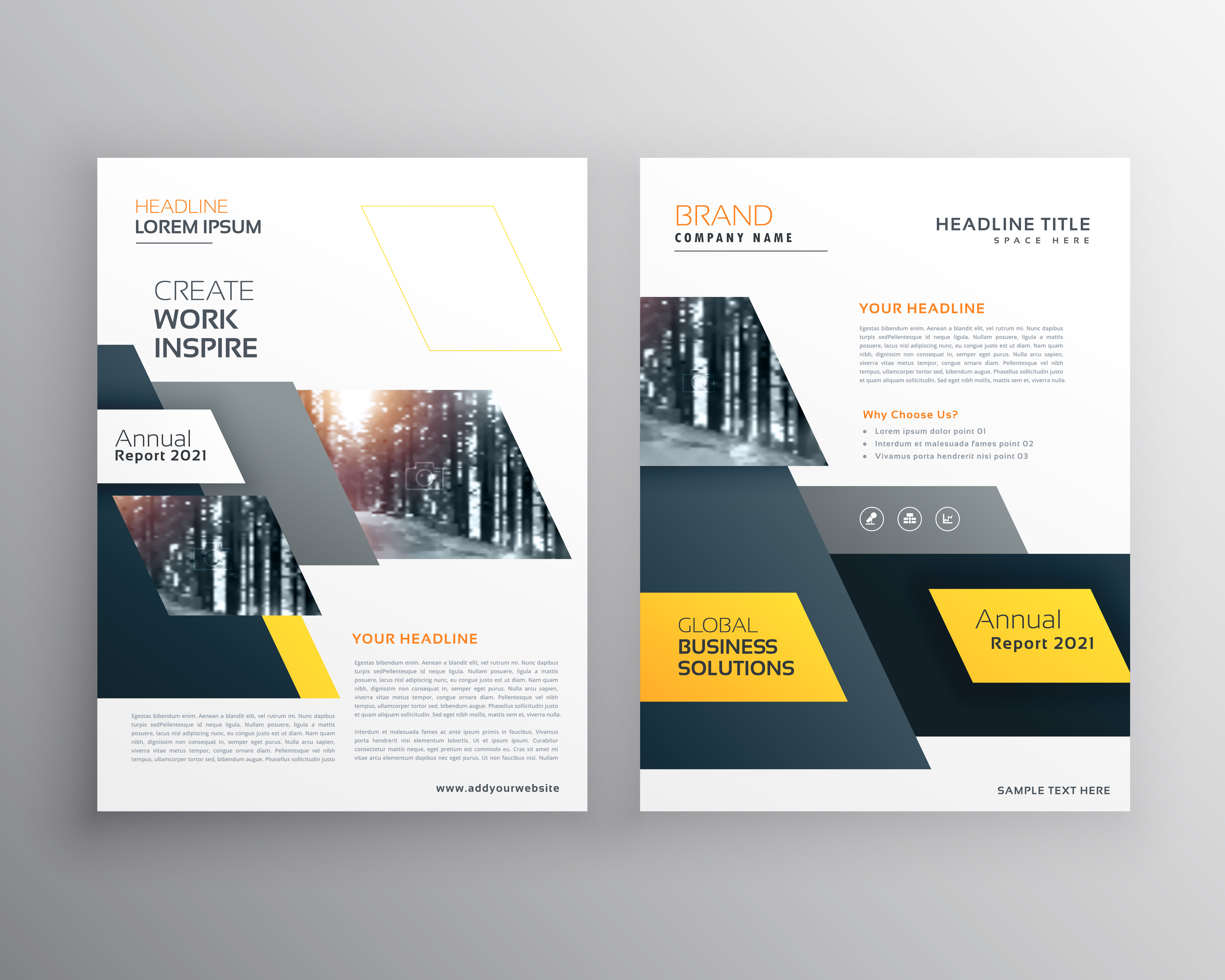 modern yellow brochures set for business presentation or. Black Bedroom Furniture Sets. Home Design Ideas