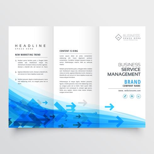 awesome arrow style business brochure trifold template in blue c