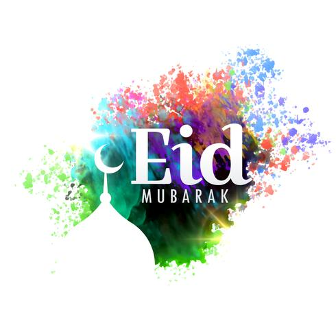 eid mubarak festival greeting card design with watercolor effect