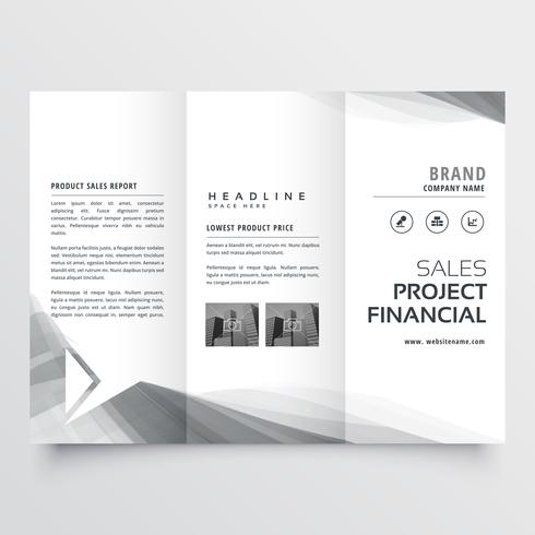elegant business tri-fold brochure design with gray wavy shapes