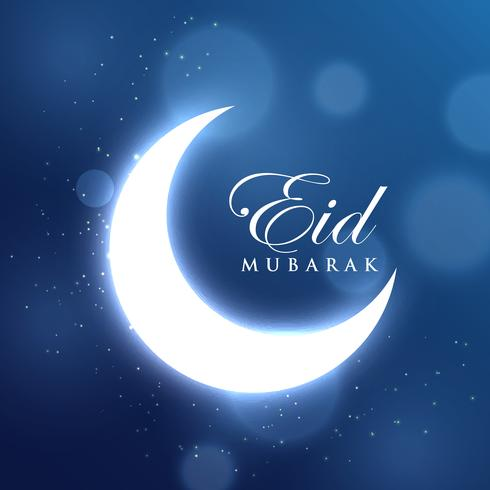 glowing crescent moon for eid festival in blue background