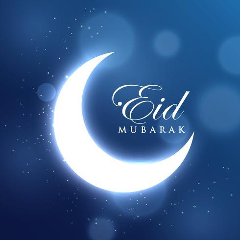 Luna creciente para el festival eid en fondo azul