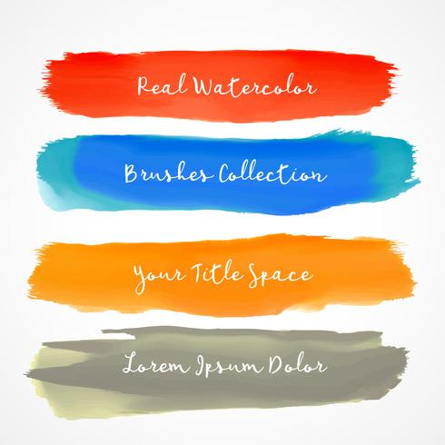four real watercolor vector brush stroke set