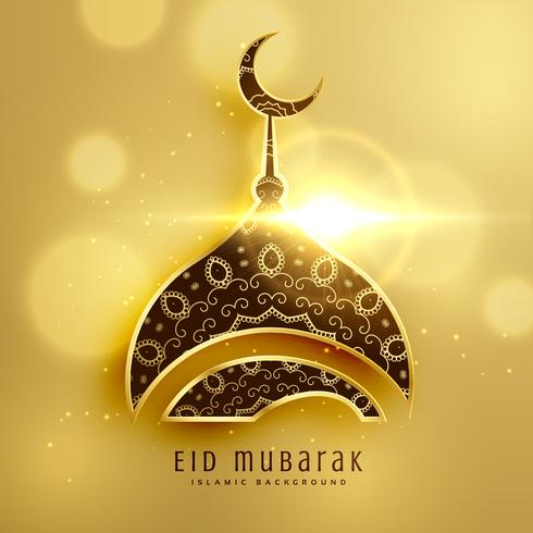 beautiful mosque design for islamic eid festival with golden dec