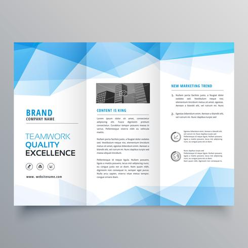 abstract blue geometric trifold brochure design template