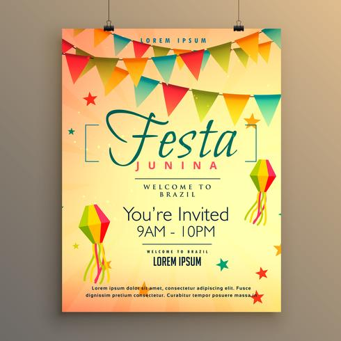 elegant festa junina season background with garland decoration