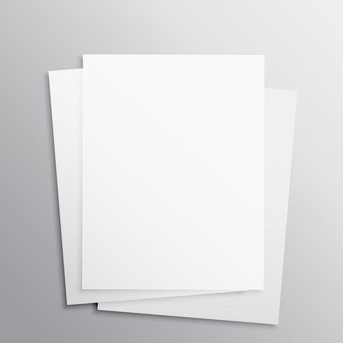 stack of three empty papers mockup template download free vector