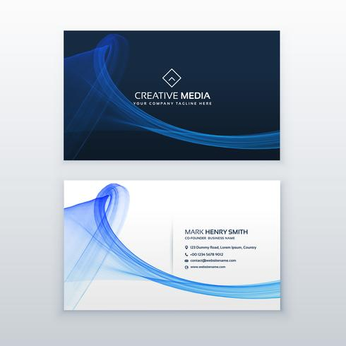 clean blue business card with wave shape