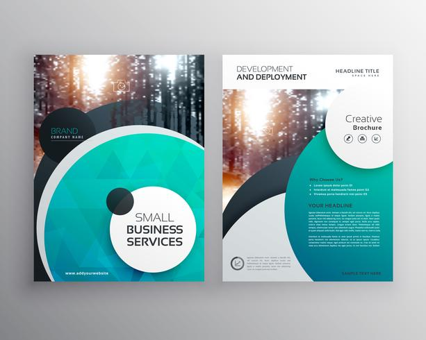 creative blue business flyer brochure design template with circl