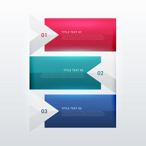 three steps option infographic template in arrow style for busin