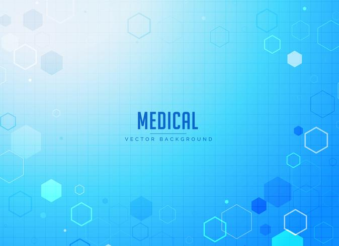 medical care blue background design with hexagonal shapes