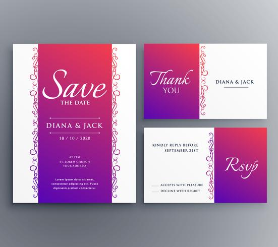 save the date wedding card template design with floral decoratio