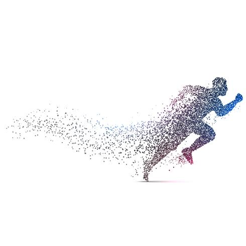 man running backgorund made with dynamic particles