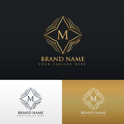 letter M golden line art monogram logo