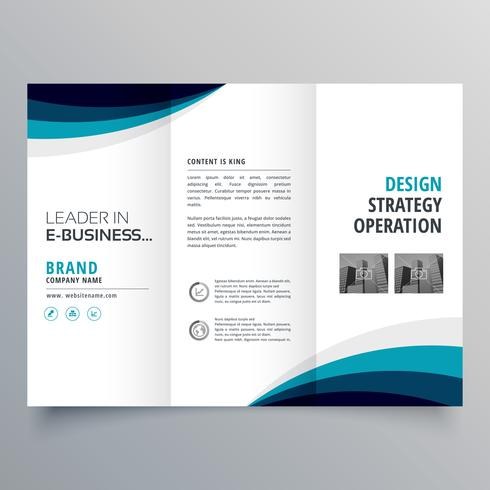 blue wave trifold business brochure design template