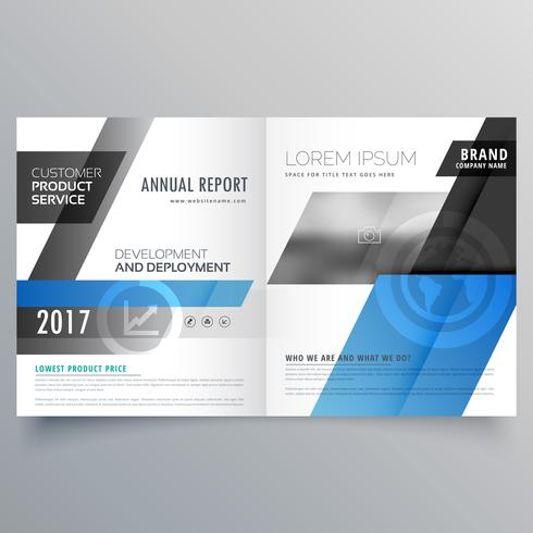 blue business bifold brochure design template