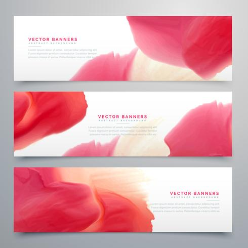 abstract red watercolor banner set