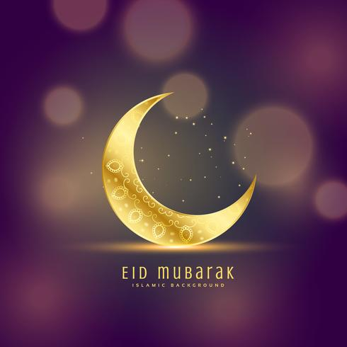 beautiful golden moon on bokeh background, eid festival greeting