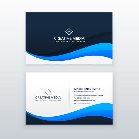 stylish blue wave business card vector design