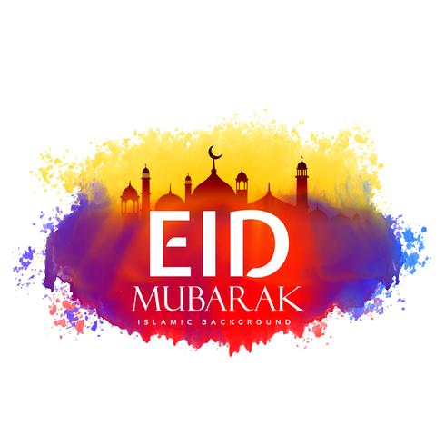 eid mubarak creative design with watercolor effect