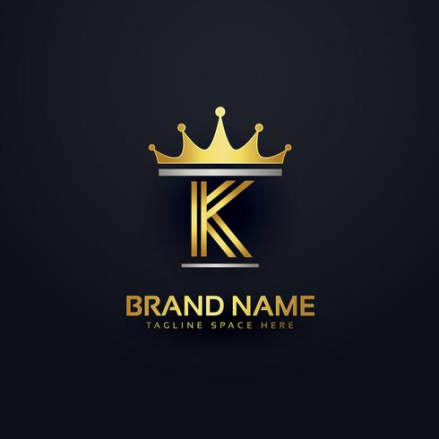 letter K premium logo with golden crown