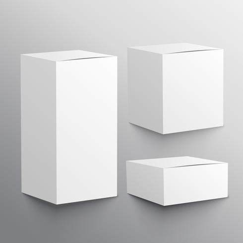 set of three realistic empty box mockup template
