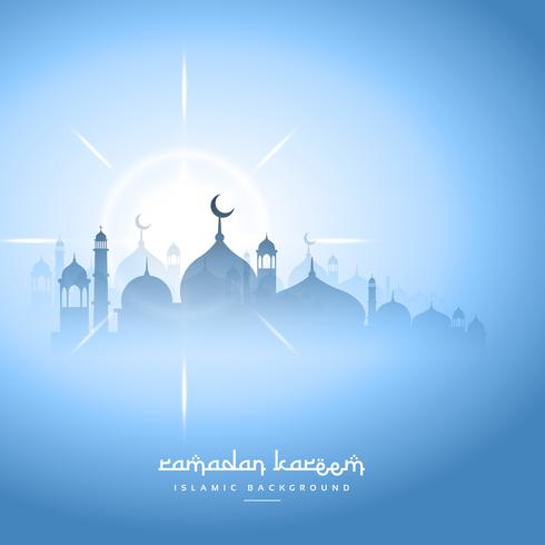 blue sky ramadan kareem background with mosque silhouette