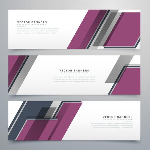 stylish geometric banners set design