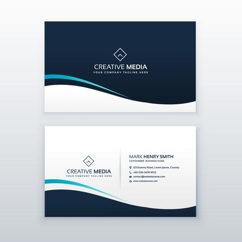 simple dark wavy business card design