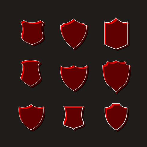 set of red badges label designs