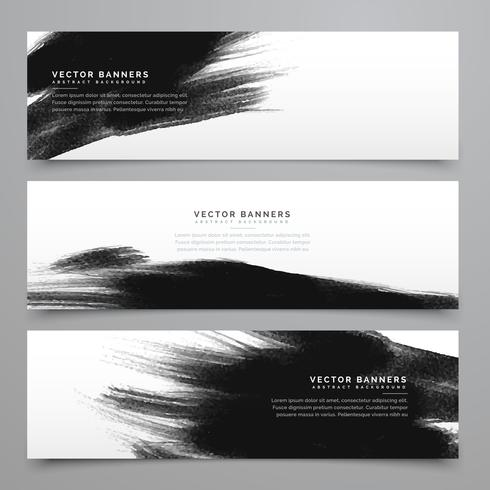 black ink strokes banenrs and headers collection