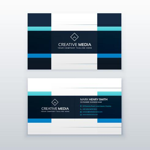 blue vector business card design template in clean style