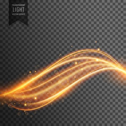 efeito de luz transparente abstrato com linhas douradas curvas de néon