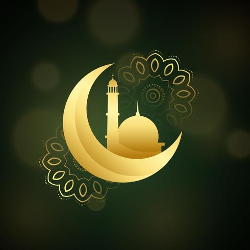 crescent moon with mosque for islamic festival