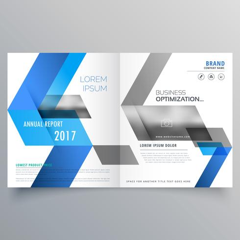 modern booklet cover page design template with abstract blue sha