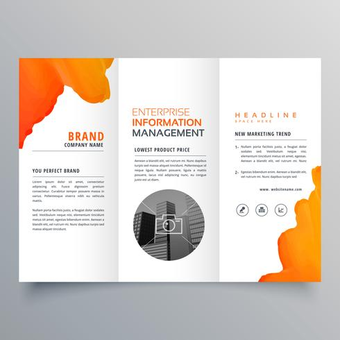 orange watercolor trifold business leaflet brochure flyer templa