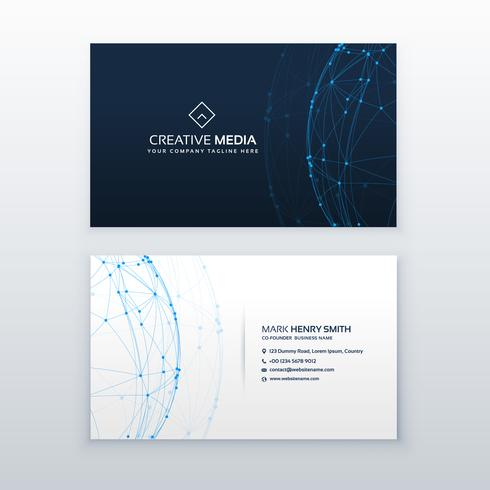 digital blue business card vector design